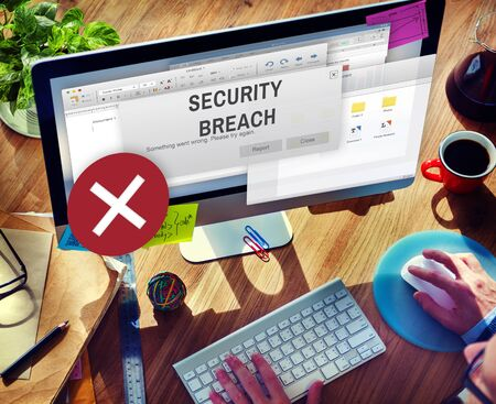 breach: Security Breach Cyber Attack Computer Crime Password Concept Stock Photo