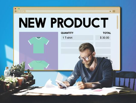business products: New Product Launch Promotion Marketing Services Concept