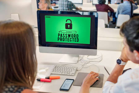 private security: Password Protected Privacy Policy Private Security Concept