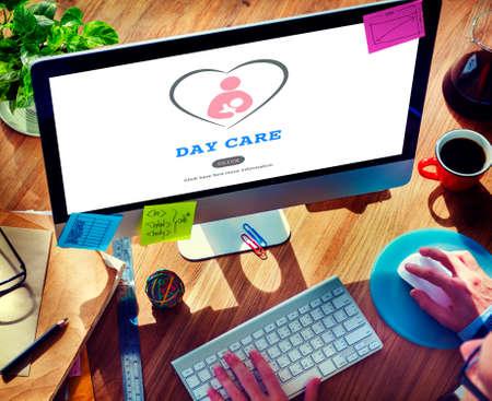 nanny: Day Care Babysitter Nanny Nursery Love Motherhood Concept Stock Photo
