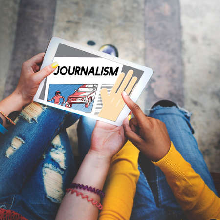 publish: Journalism Article Interview News Publish Report Concept Stock Photo