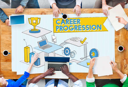 progression: Career Progression Promotion Achievement Success Concept
