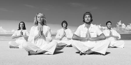 yoga beach: People Performing Yoga Beach Concept