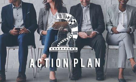 plan de accion: Action Plan Active Business Inspiration Vision Concept Foto de archivo