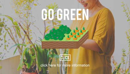 planting: Go Green Farming Planting Gardening Concept