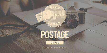 postmark: Postage Postal Stamp Delivery Postmark Concept