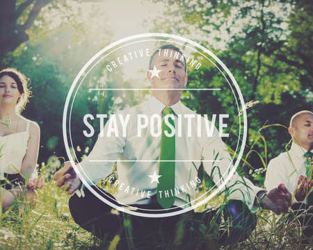 mindset: Stay Positive Thinking Mindset Optimistic Happiness Concept Stock Photo