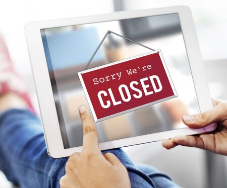 store sign: Closed Signage Marketing Shop Concept Stock Photo