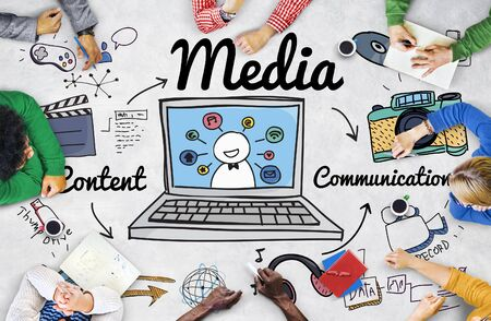 Media Multimedia Social Media Online Concept Foto de archivo