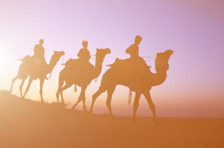 dimly: Three indigenous men riding camel through the dimly lit desert. Stock Photo