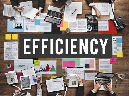 Desarrollo del concepto de eficiencia Misión Mejora Foto de archivo