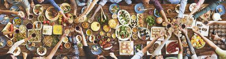 Friends Happiness Enjoying Dinning Eating Concept Reklamní fotografie - 58457882