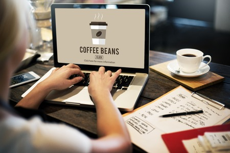 artistic addiction: Cafe Coffee Culture Cappuccino Coffee Beans Concept Stock Photo