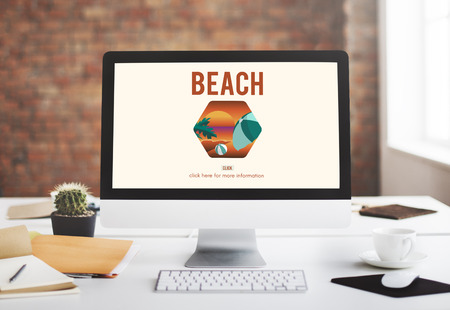 office computer: Sea Beach Rest Relax Holidays Concept Stock Photo