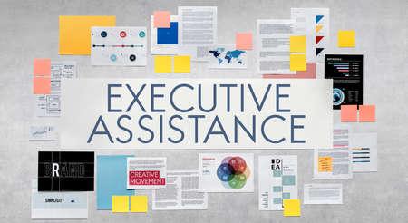aide à la personne: Assistance Soutien exécutif Assist Concept Banque d'images