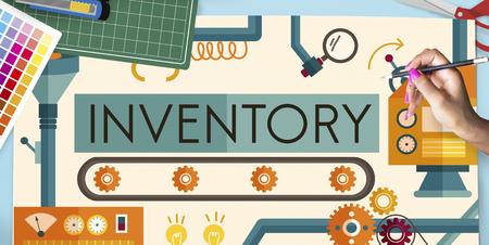 Inventario de activos de fabricación Productos Concept Foto de archivo - 59158140