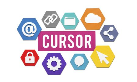 click the icon: Cursor Technology Click Icon Access Concept