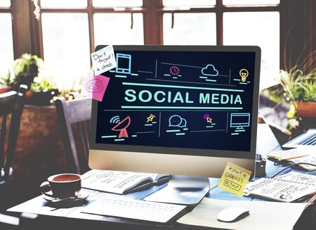 conection: Social Media Communication Conection Internet Concept Stock Photo
