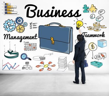Businessman with business concept Фото со стока