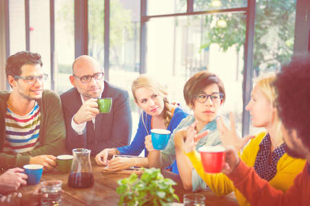 mixed age: Group of People on Coffee Break