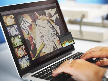 editor: Photo Editor Histogram Setting Concept