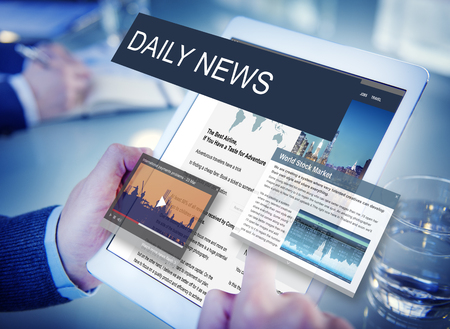 news online: Media Journalism Global Daily News Content Concept Stock Photo