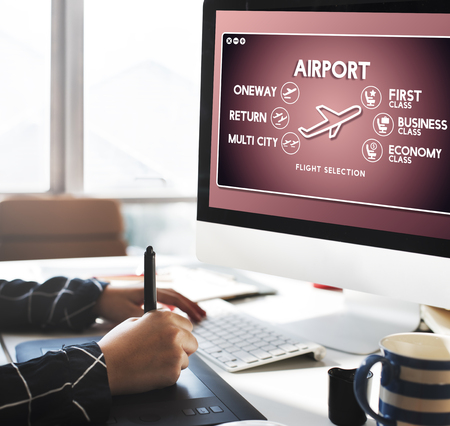 return trip: Airport Flight Ticket Selection Transportation Concept Stock Photo