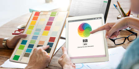 primary colors: RGB Printing Palette Mixing Colour Concept Stock Photo