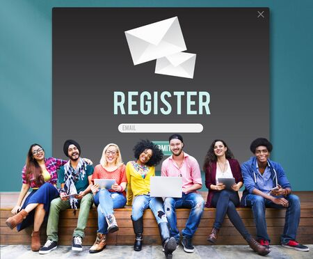 signup: Register Apply Enlist Join Record Sign-Up Enter Concept Stock Photo