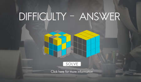 with difficulty: Difficulty Answer Solution Solving Strategy Result Concept Stock Photo