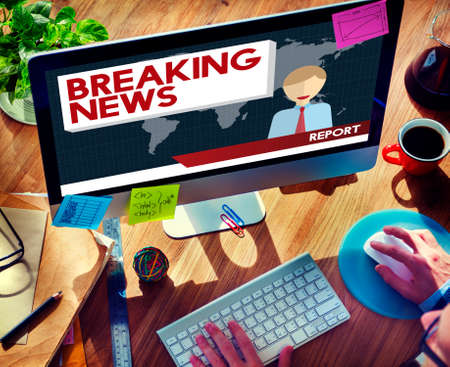 headline: Breaking News Article Broadcast Headline Journal Concept Stock Photo