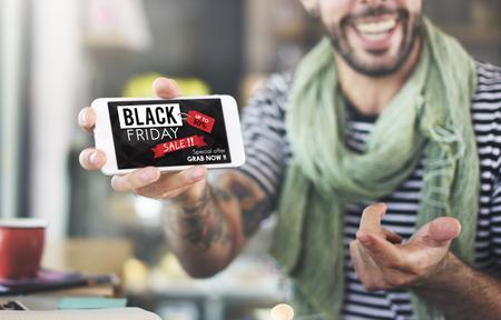Black Friday Discount Half Price Promotion Concept Stock Photo
