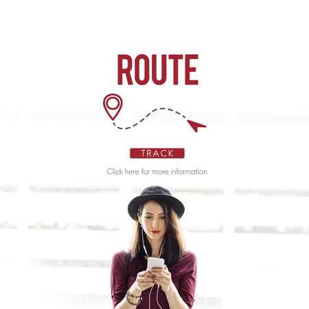 Route Navigate Location Planning Transportation Concept Reklamní fotografie