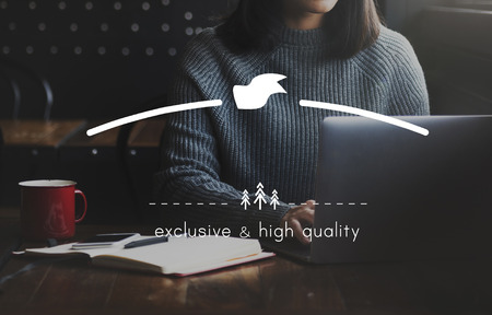 high end: Exclusive and High Quality Brand Markeing Copy Space Concept Stock Photo