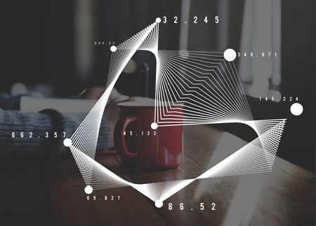 coffe break: Analyse Connection Graph Information Mark Concept Stock Photo