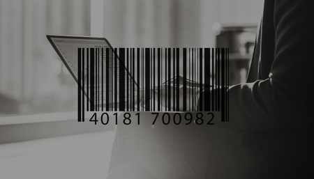 small business computer: Barcode Mark Sign Market Item Concept Stock Photo