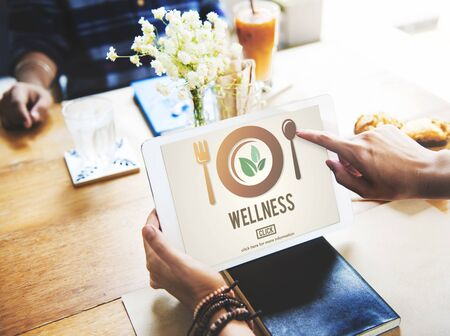 pointing herb: Wellness Wellbeing Health Healthi Lifestyle Concept Stock Photo