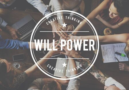 will power: Yes You Can Will Power Aspirations Confidence Concept