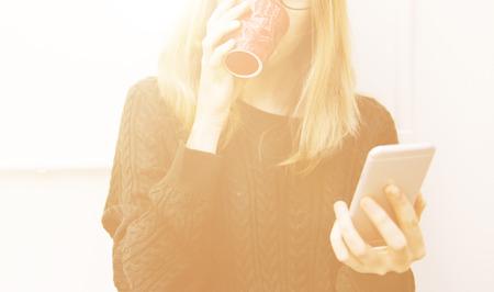 mobile communication: Woman Mobile Phone Connection Communication Concept