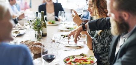 Business People Meeting Eating Discussion Cuisine Party Concept Foto de archivo