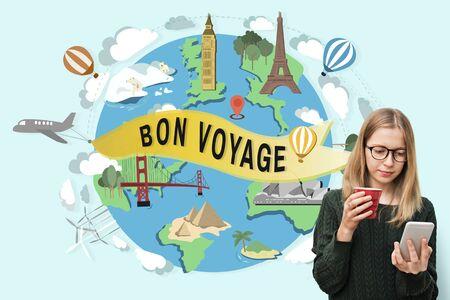 bon: Bon Voyage Farewell Greeting Journey Travel Trip Concept