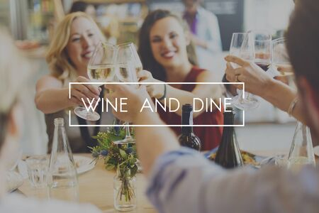 dine: Wine and Dine Dinner Drinking Enjoyment Food Concept Stock Photo