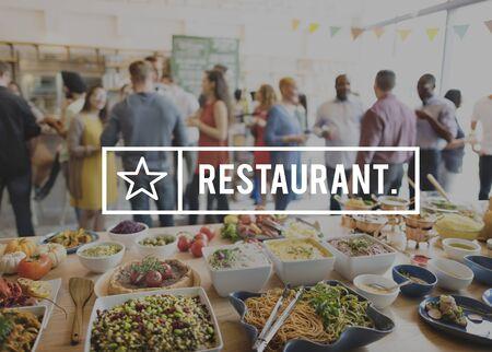 originate: Restaurant Bistro Culinary Food Kitchen Cafeteria Concept Stock Photo