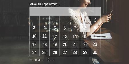 Faire un rendez-vous Calendrier Calendrier Organisation Concept Planification Banque d'images - 58614066