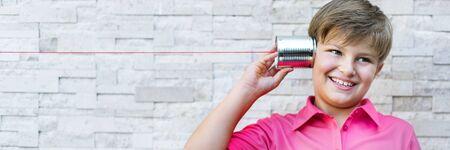 tin can phone: Little Boy Tin Can Phone Concept