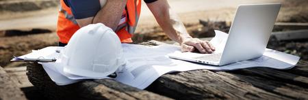 Bauarbeiter Planung Auftragnehmer Entwickler Konzept Standard-Bild