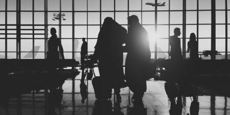 flight mode: Back Lit Business People Traveling Airport Passenger Concept