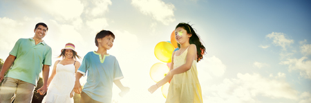 person smiling: Family Bonding Cheerful Children Parenting Love Concept