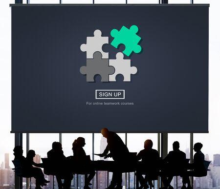 solve: Stategy Puzzle Fit Jigsaw Match Solve Concept