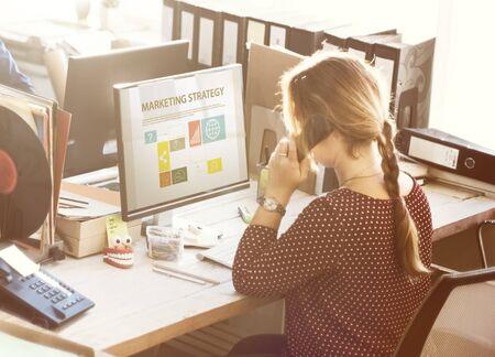 obra social: Businesswoman Marketing Analysis Using Telephone Concept